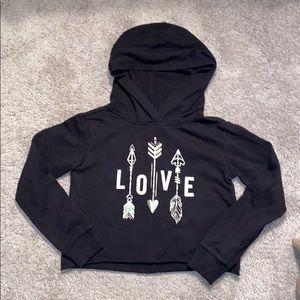 Justice crop hoodie 8 girls heart love arrows